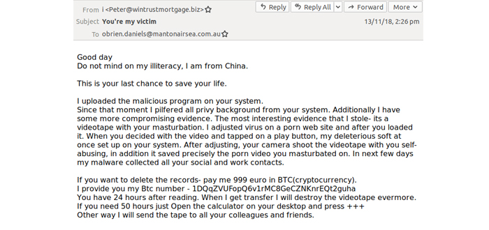 Extortion phishing! Wide Ranging Email Attacks Landing In Aussie Inboxes.